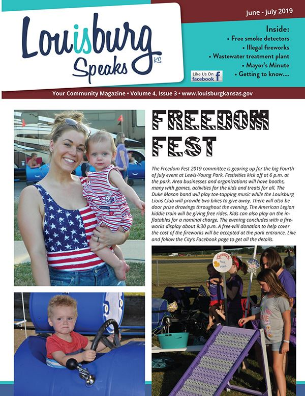 Front page of the latest issue of Louisburg Speaks features Freedom Fest.