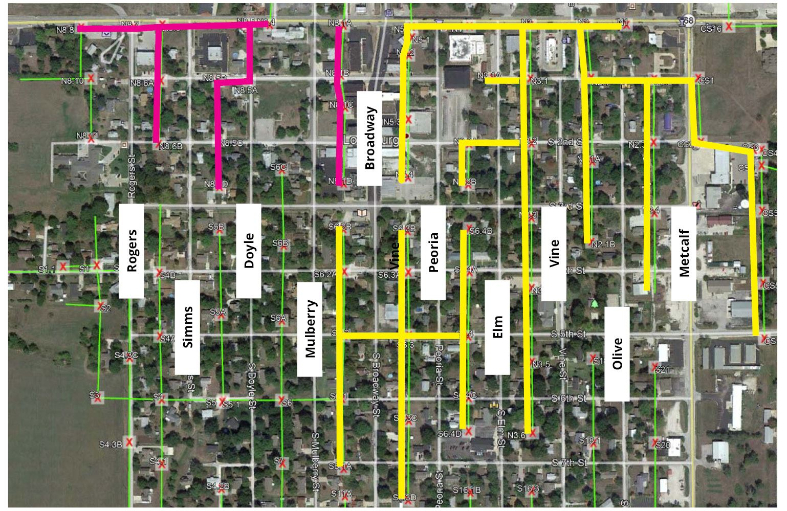 City of Louisburg 2019 sewer maintenance map.