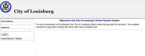 The online bill pay website for the City of Louisburg.
