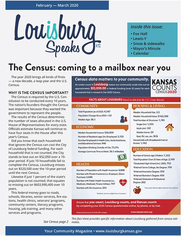 The February-March issue of Louisburg Speaks.