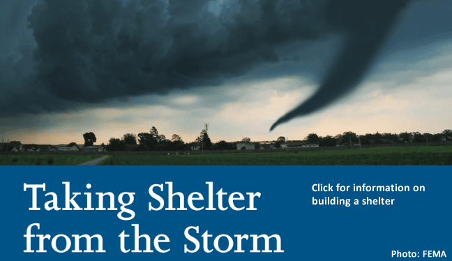 Taking shelter from the storm graphic.