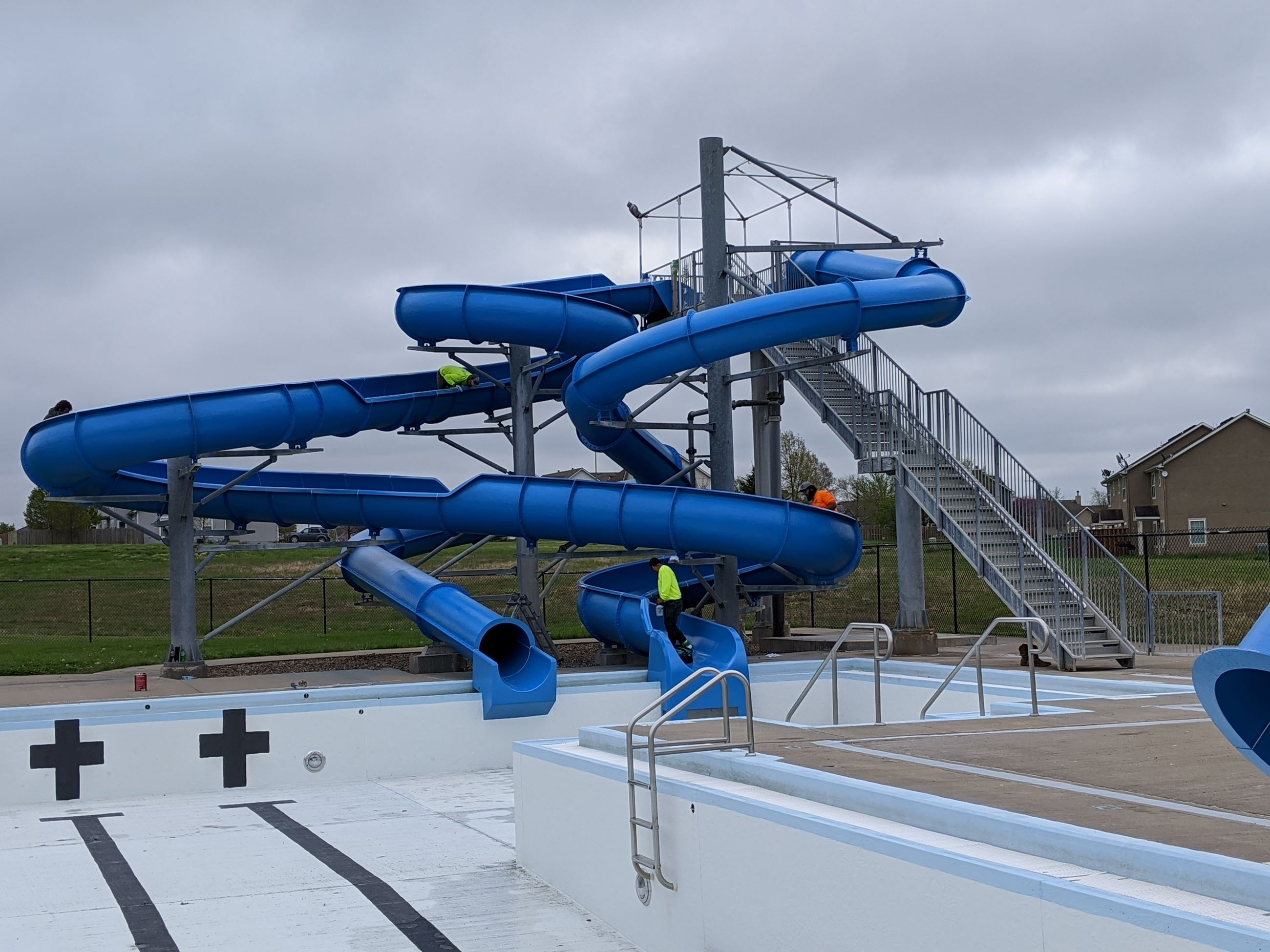 Slides at the Louisburg Aquatic Center received a fresh coat of paint in the Spring of 2020.
